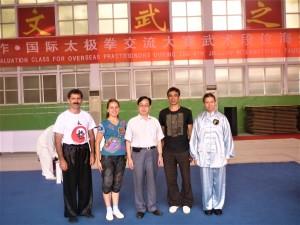 Павел Нигей с Мастерами по Ушу - Кан Гэу, Тынагыргин Н.И. после сдачи экзамена на 4 дуань, Китай, 2011