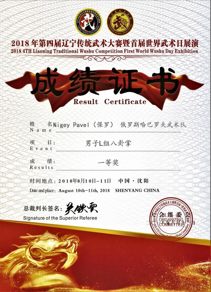 Соревнование в Китае, 11.08.2018 Багуа чжан 1 место
